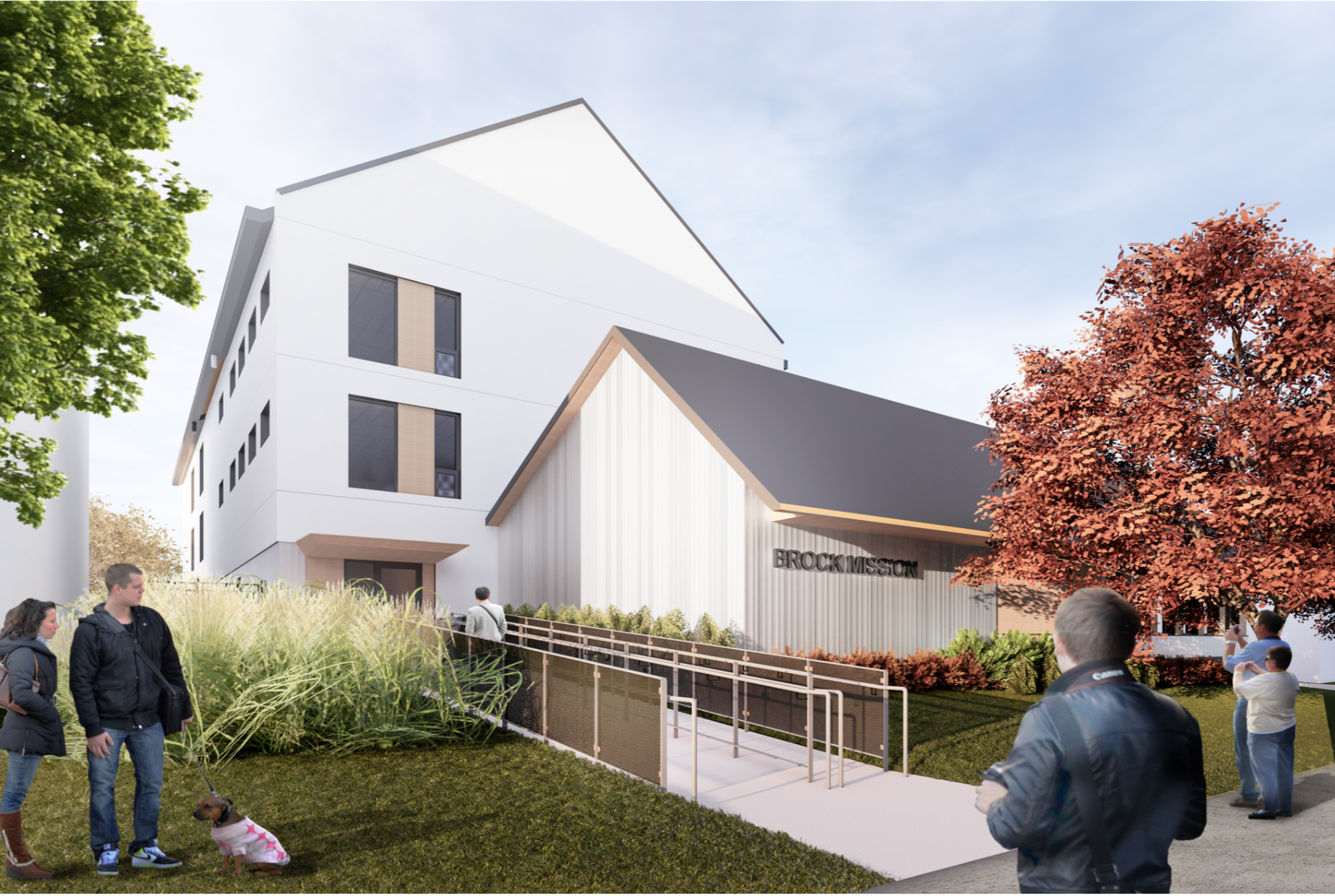 Main entrance of Brock Misson, rendering courtesy Lett Architects