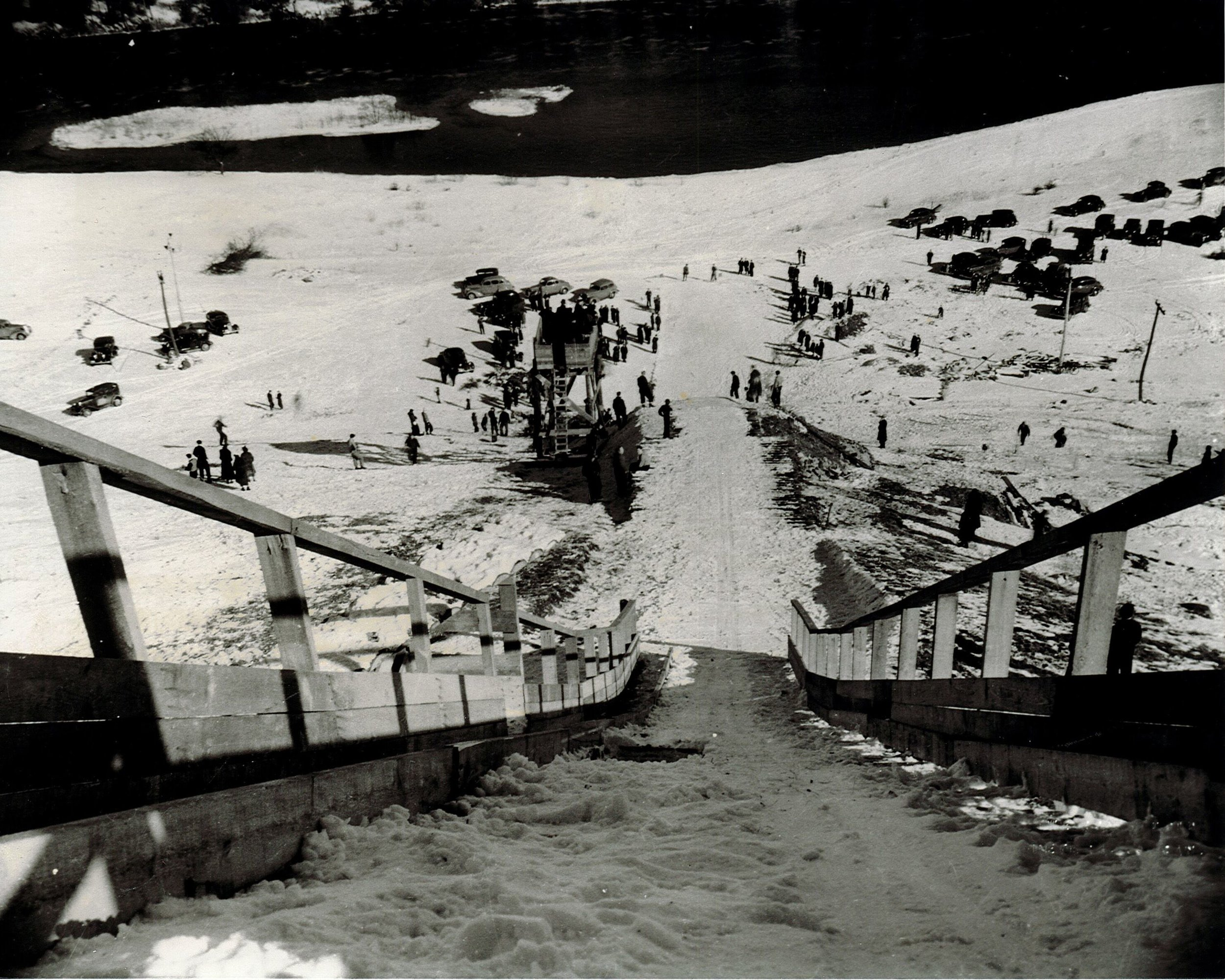 Ski Jump on Lady Eaton Drumlin. Photo provided courtesy of Peterborough Museum and Archives