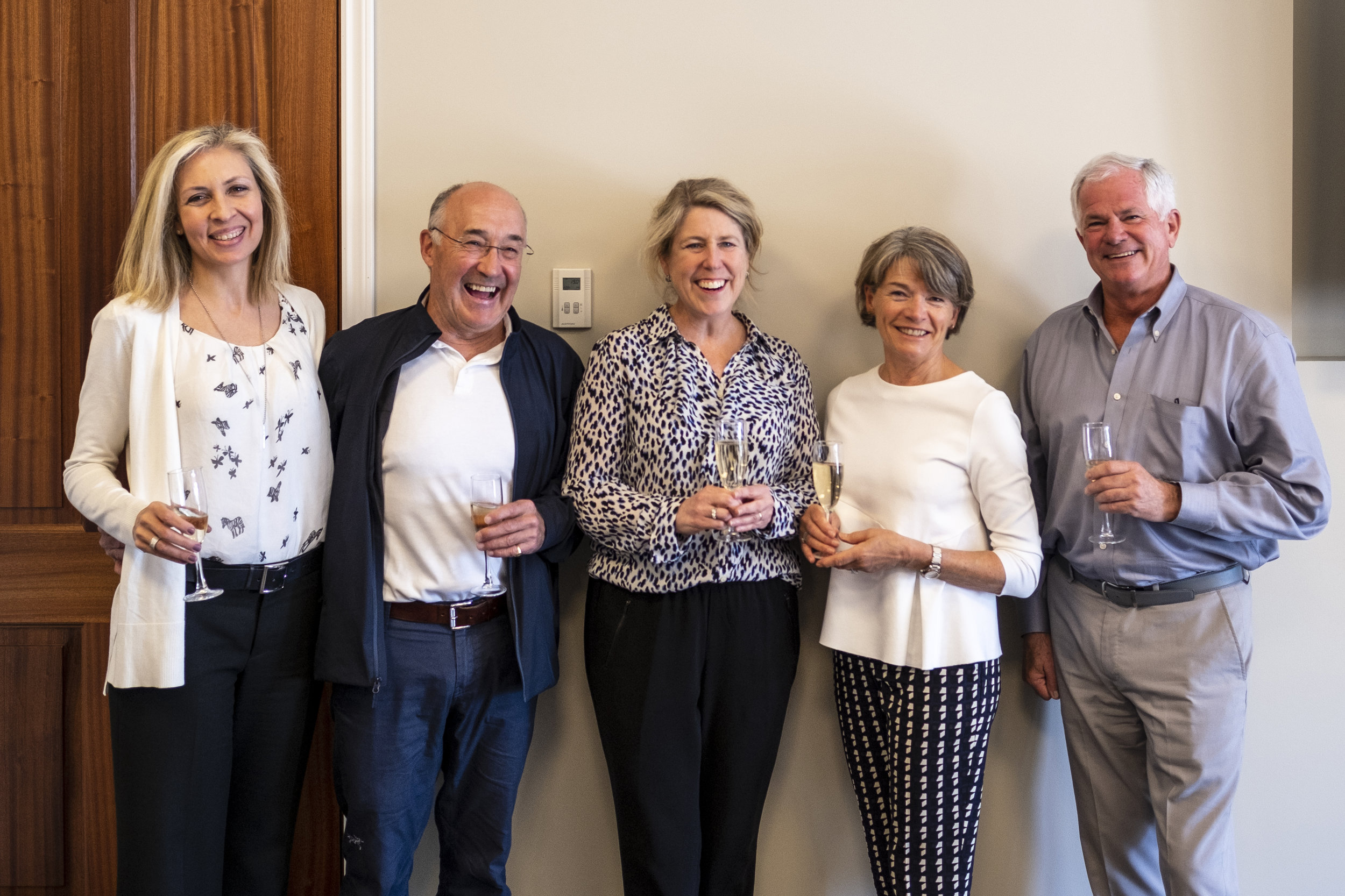 Left to right:  LCS Board Chair Nicole Bendaly '93; John Hepburn '68; Head of School and Foundation Anne-Marie Kee; Jane Hepburn; and LCS Foundation Board Chair Jock Fleming