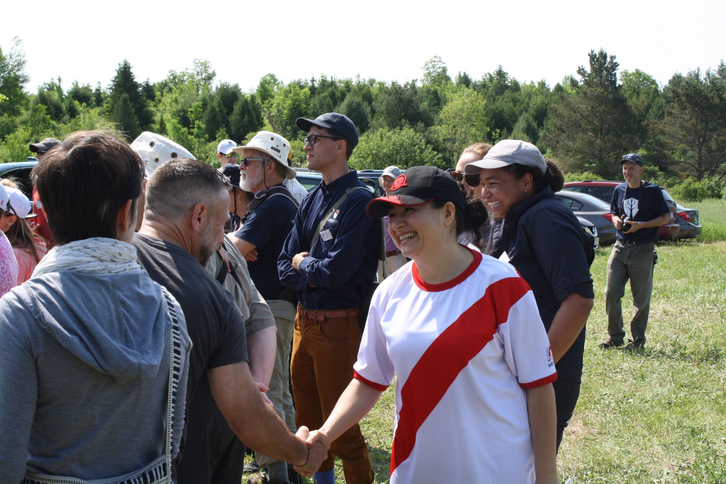MP Maryam Monsef speaks with crowd at the grand opening of the Cation Wildlife Preserve.