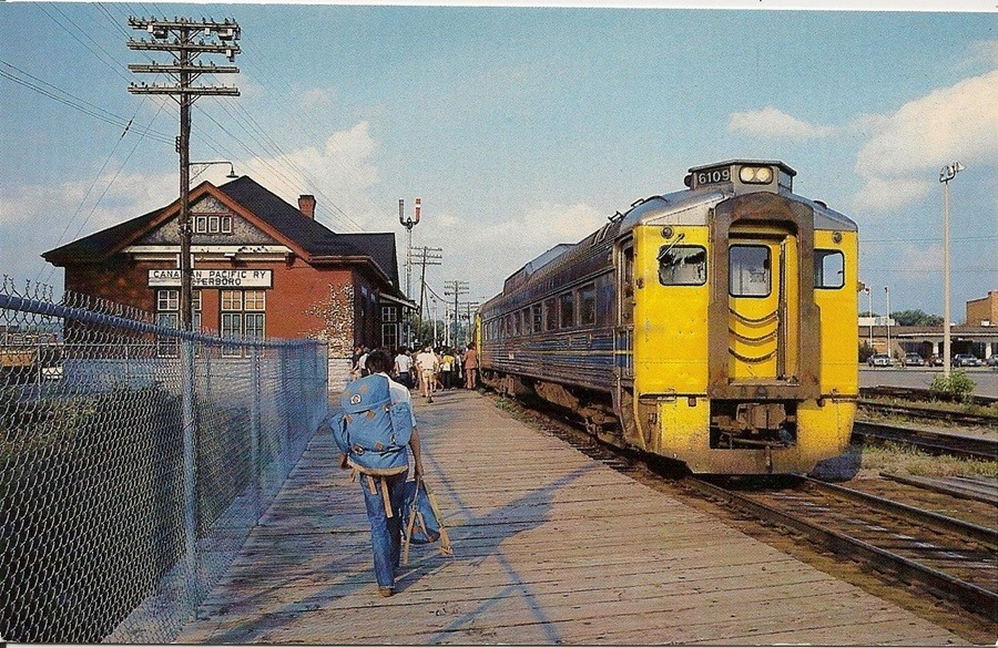 Historical photo of Via Rail train in 1981 at what is now Peterborough Chamber courtesy Peterborough Chamber