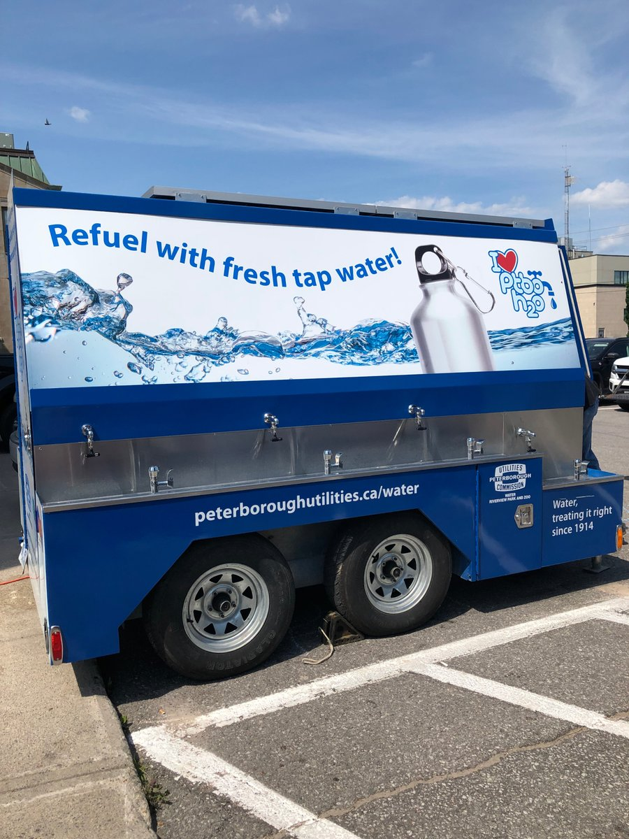 The water station set up at City Hall parking lot (photo courtesy City of Peterborough)