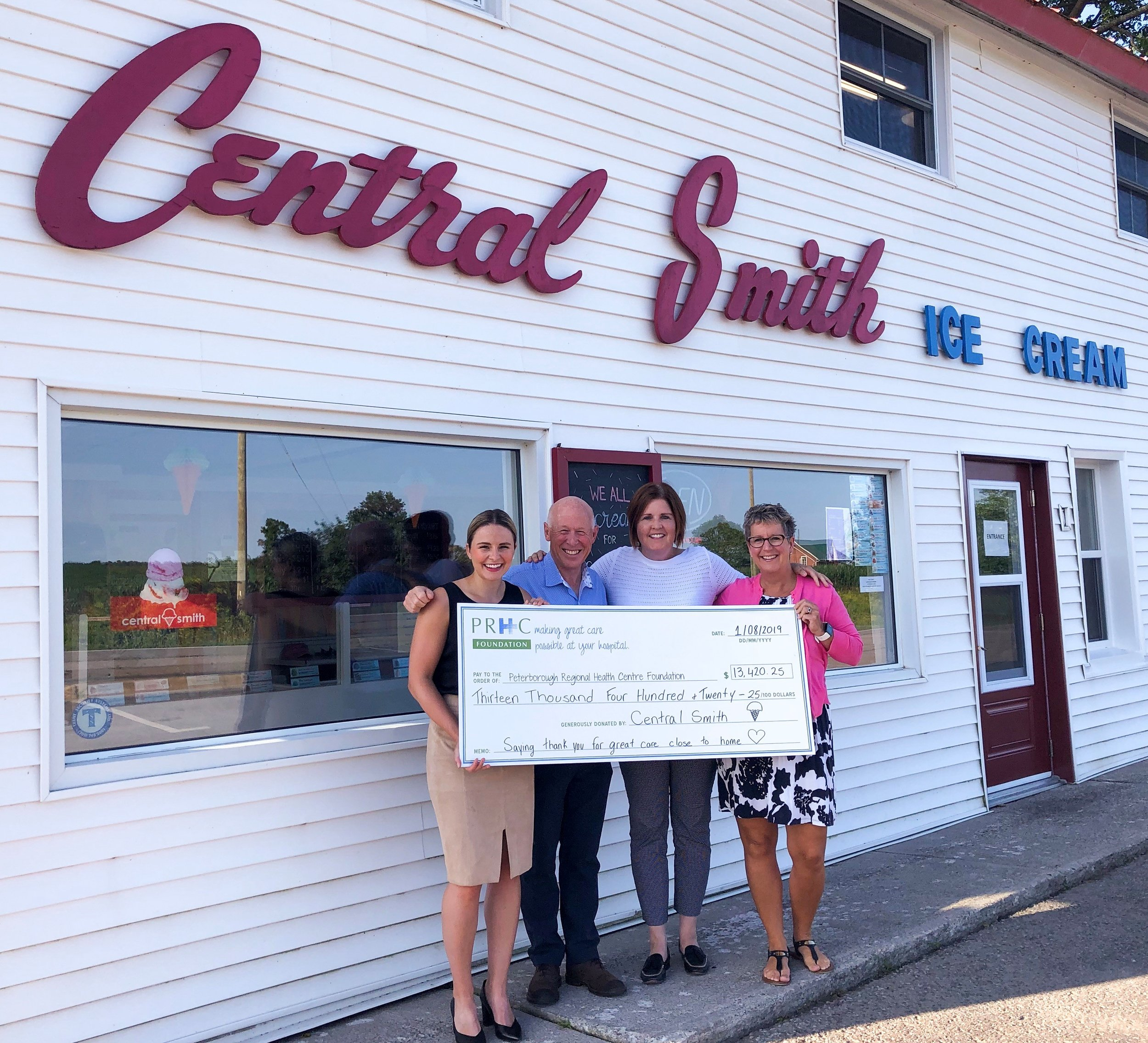 Cheque presentation at Central Smith (photo courtesy PRHC Foundation)
