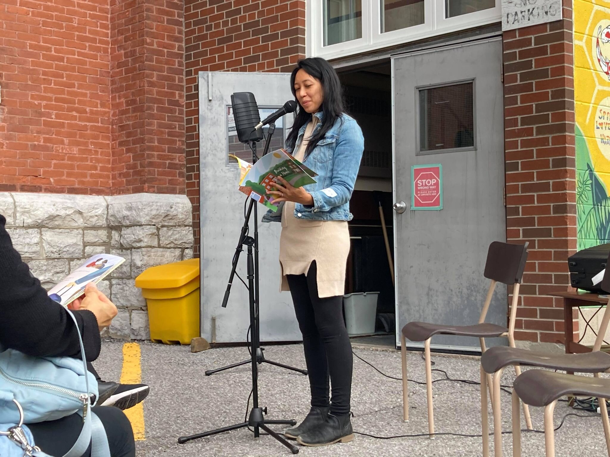 Casandra Lee reads Building a House at the launch on Monday.  Photo by Angela O'Grady.