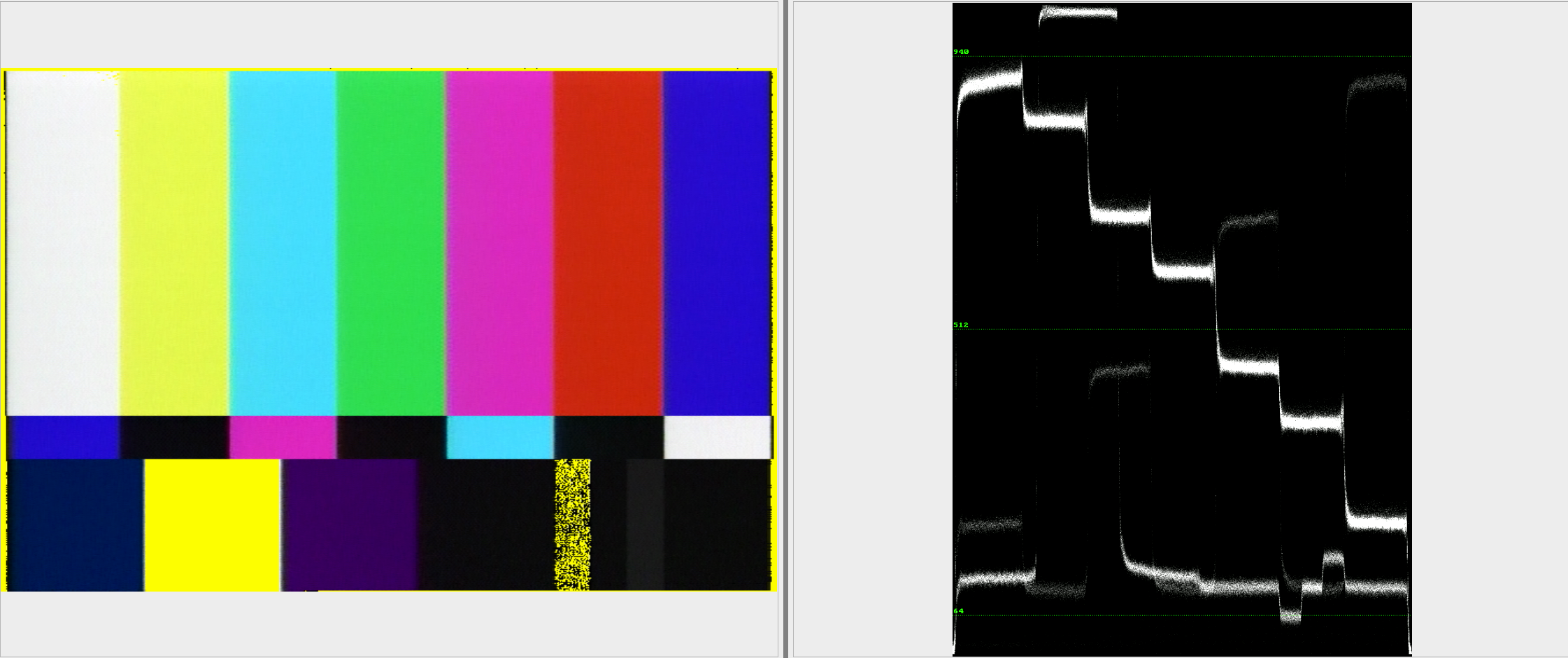 "Example of ""Broadcast Range Pixels"" video next to a waveform monitor in QCTools"