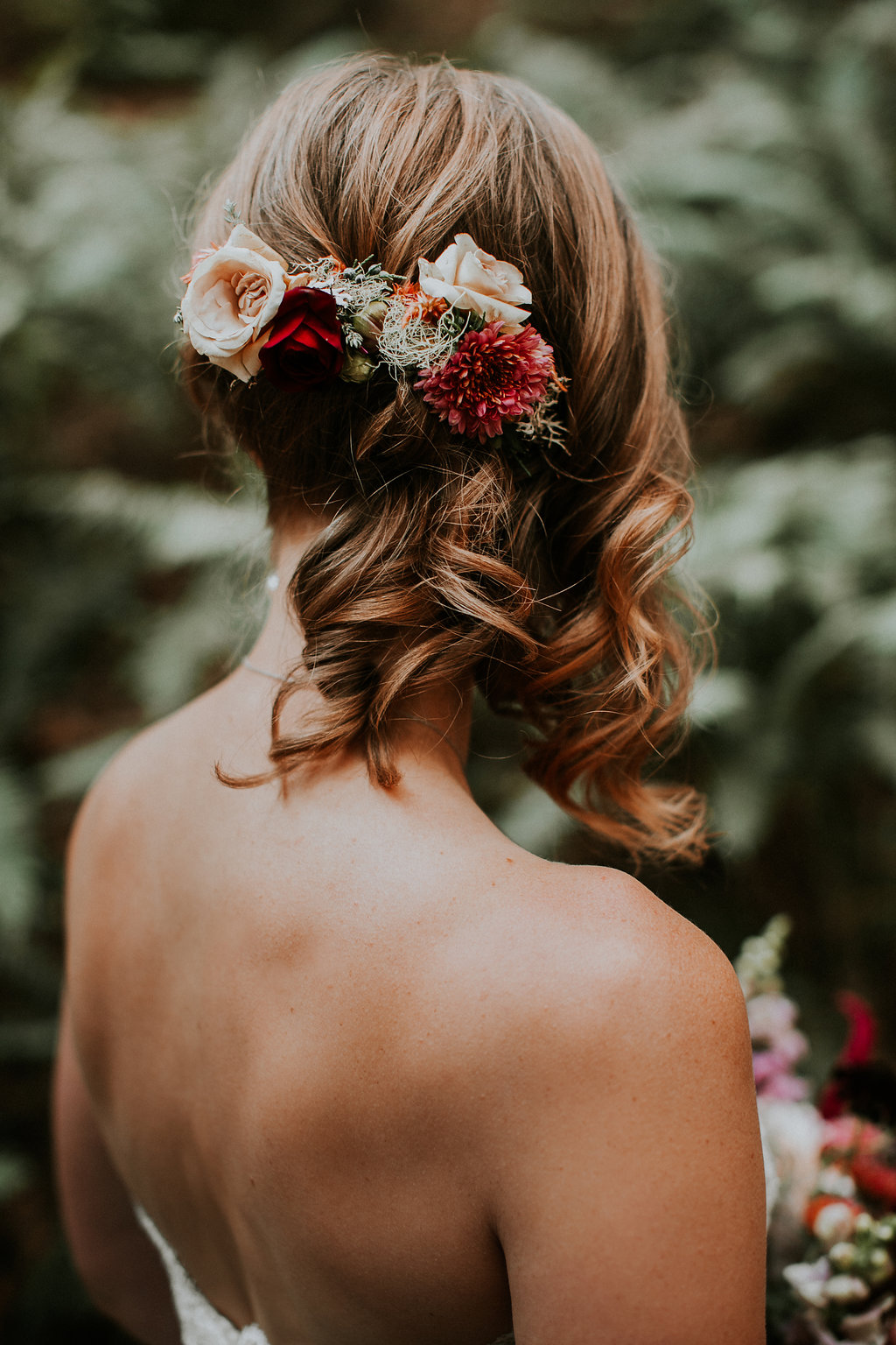Burgundy and blush wedding hair flowers