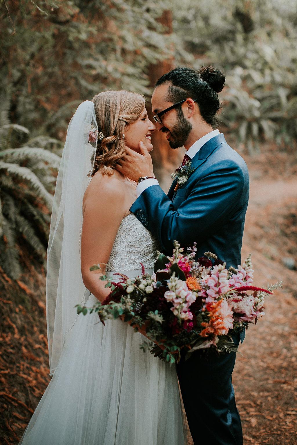 Wild and romantic jewel tone bridal bouquet