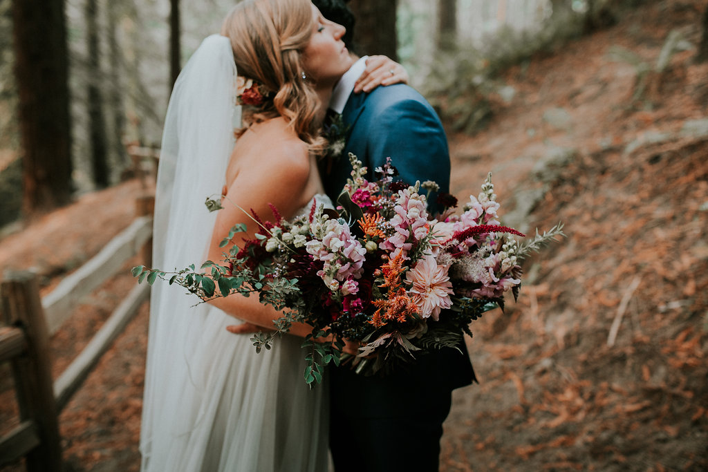 Moody and textural bridal bouquet in Portland Oregon