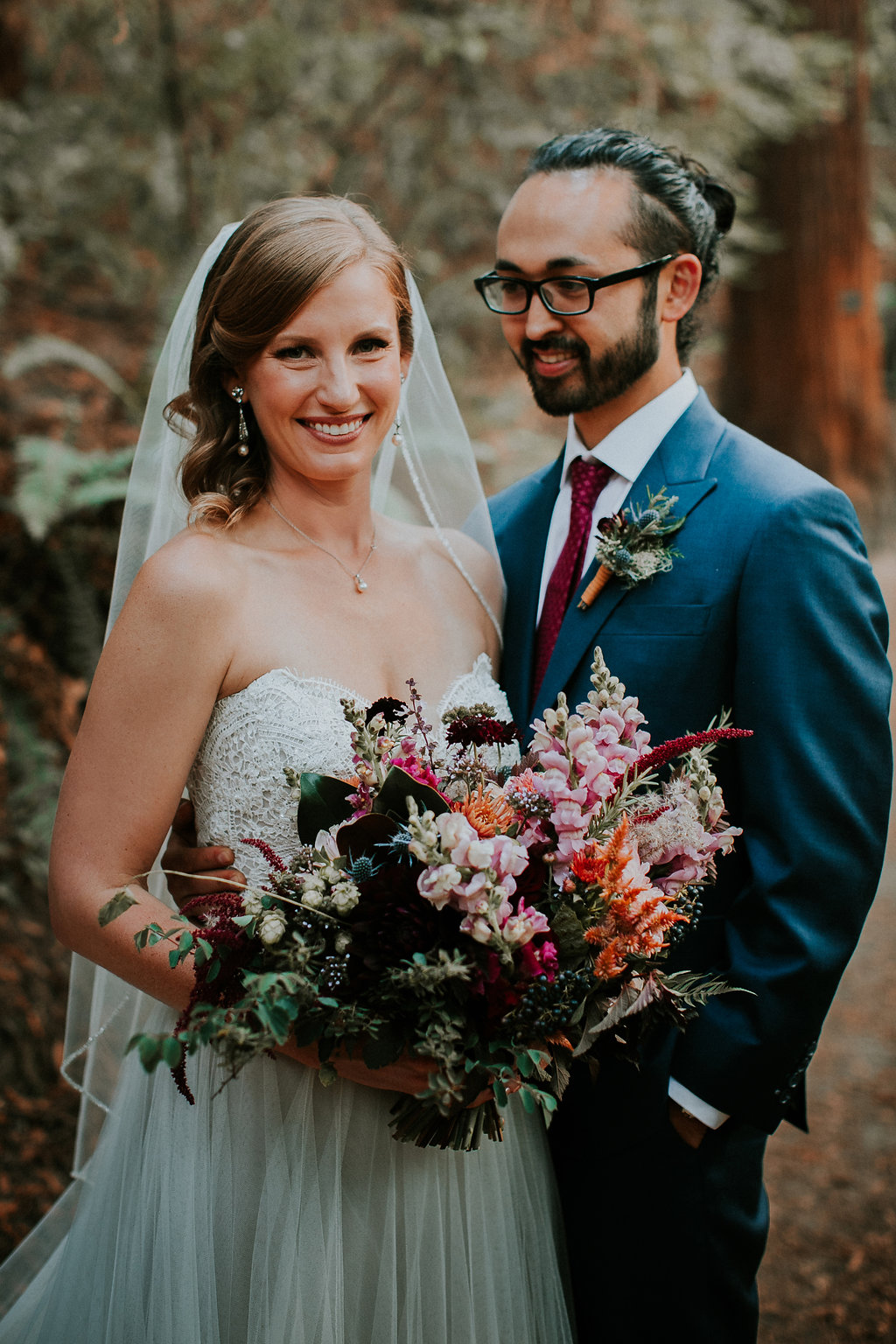 Portland Oregon bridal bouquet with leather wrap