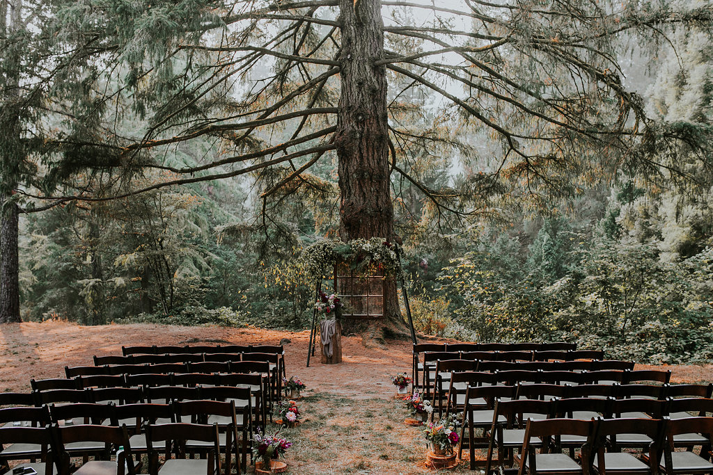 Wedding ceremony at Hoyt Arboretum in Portland Oregon