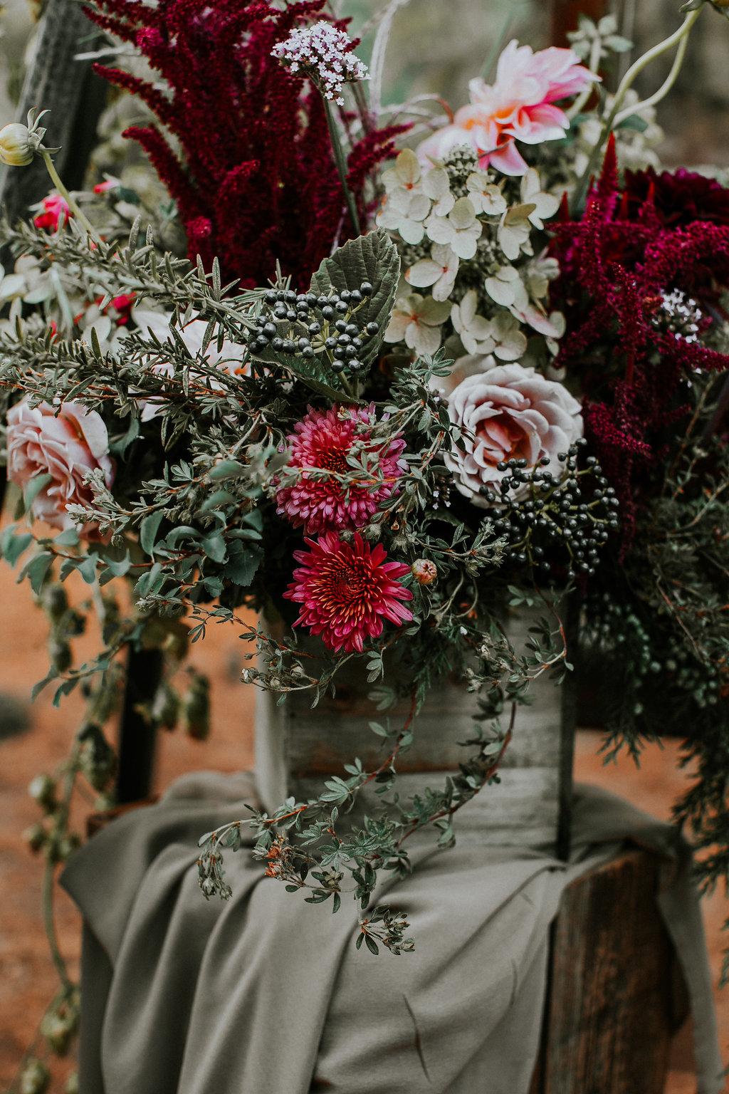 Wild woodland wedding flowers in Portland Oregon