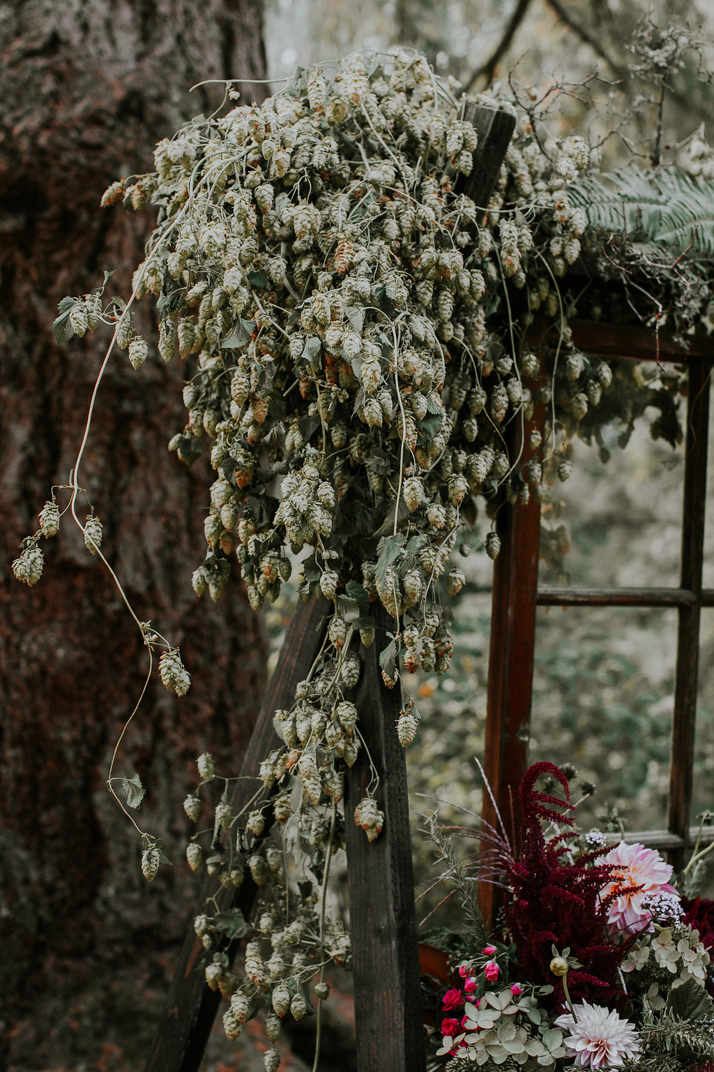 Wedding arch with hops