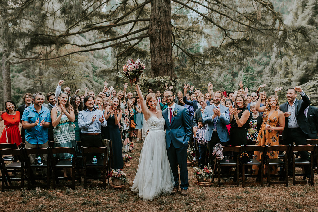 Wedding ceremony with wild natural elegant wedding flowers at Hoyt Arboretum