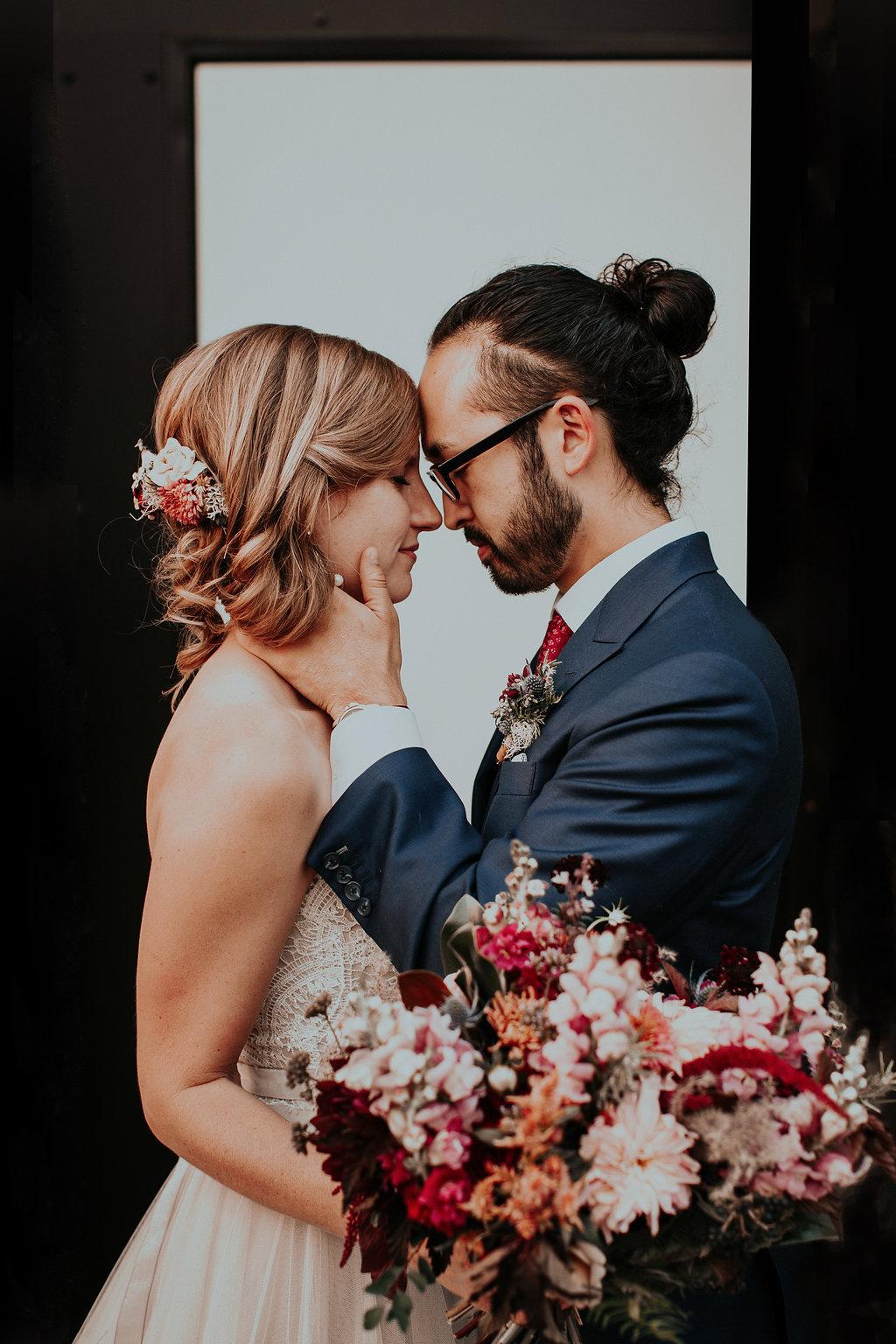 Textural woodland jewel tone bridal bouquet