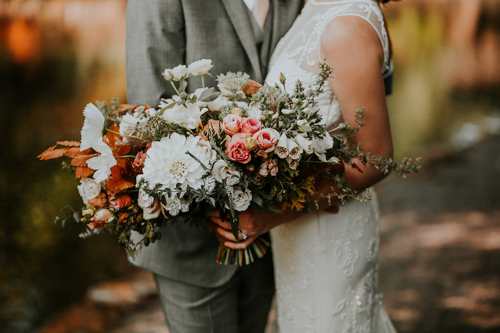 Blush and white fall bridal bouquet