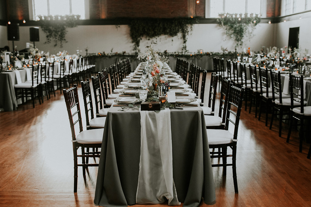 long tables for a wedding reception at The Evergreen