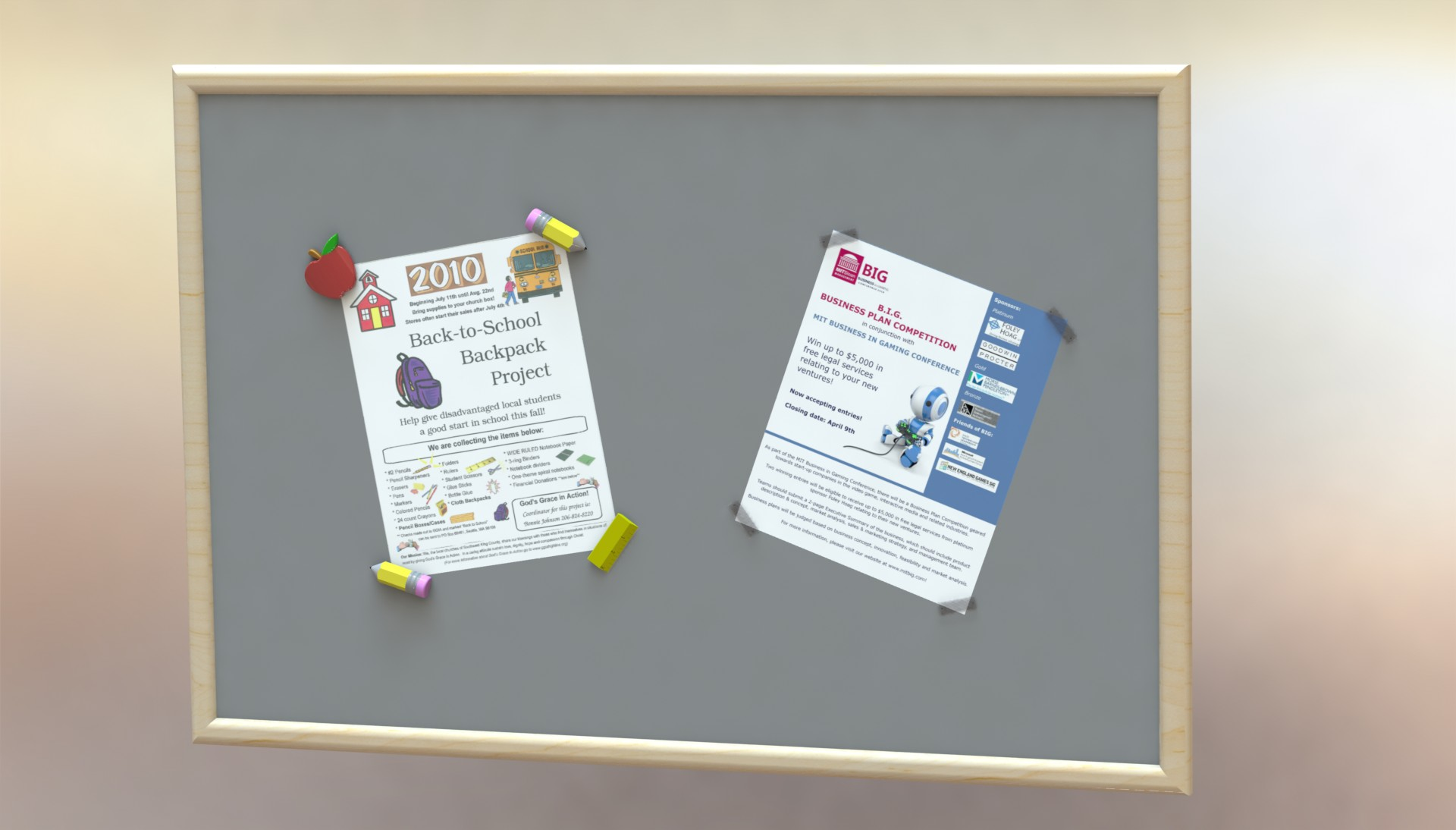 Dual-point push pins that protect the corners of bulletin board items.