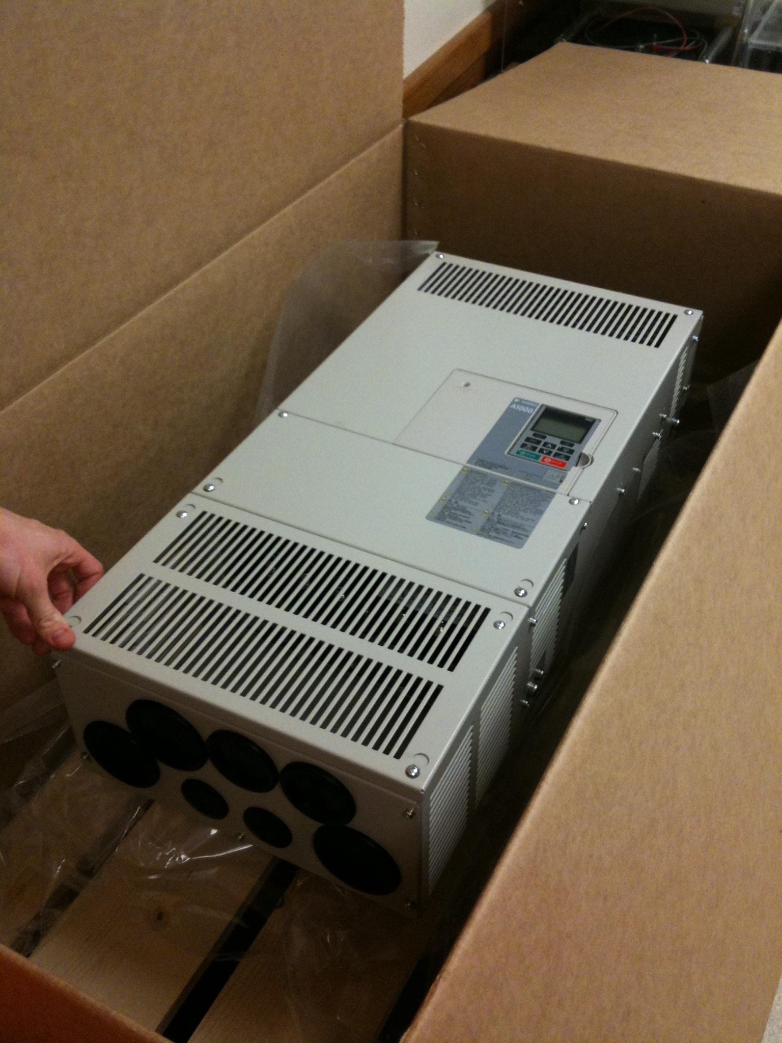 Yaskawa A1000 motor drive in the box