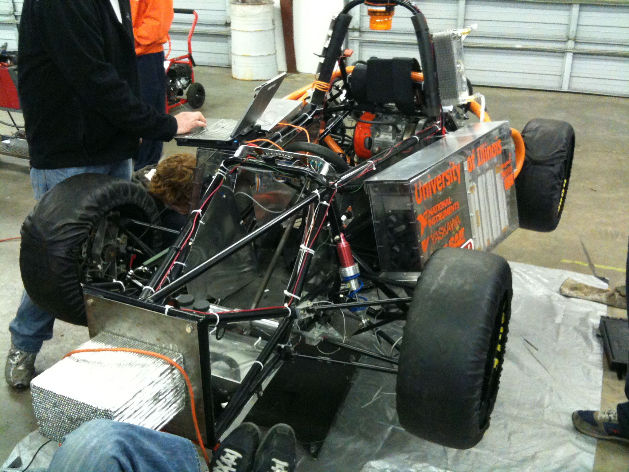 Working on the car at competition