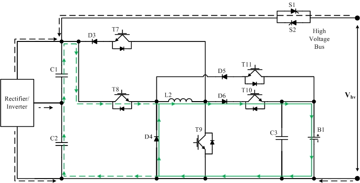 Integrated Bi-directional Power Electronic Converter -DC-DC buck mode