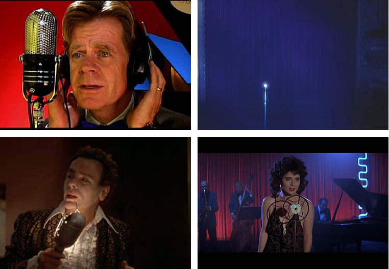 Top-left to bottom-right: Inland Empire, Mulholland Dr, Blue Velvet, Blue Velvet (mic #3, of course, is actually a lamp!)
