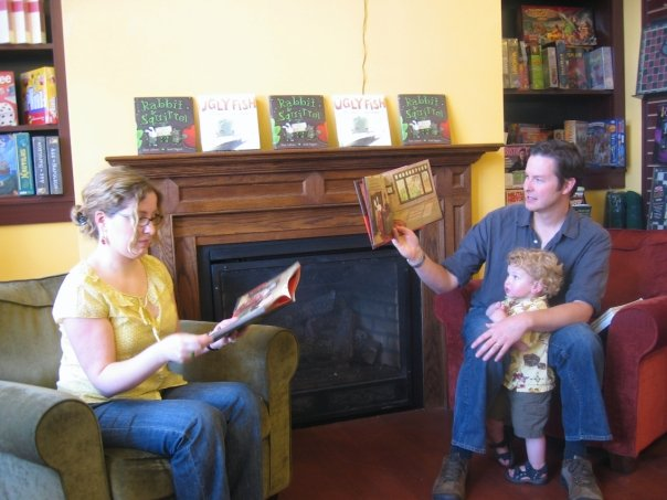 Kara LaReau & I read from  Rabbit & Squirrel  at Cornerstone Books in Salem, MA. My son had the best seat in the house.