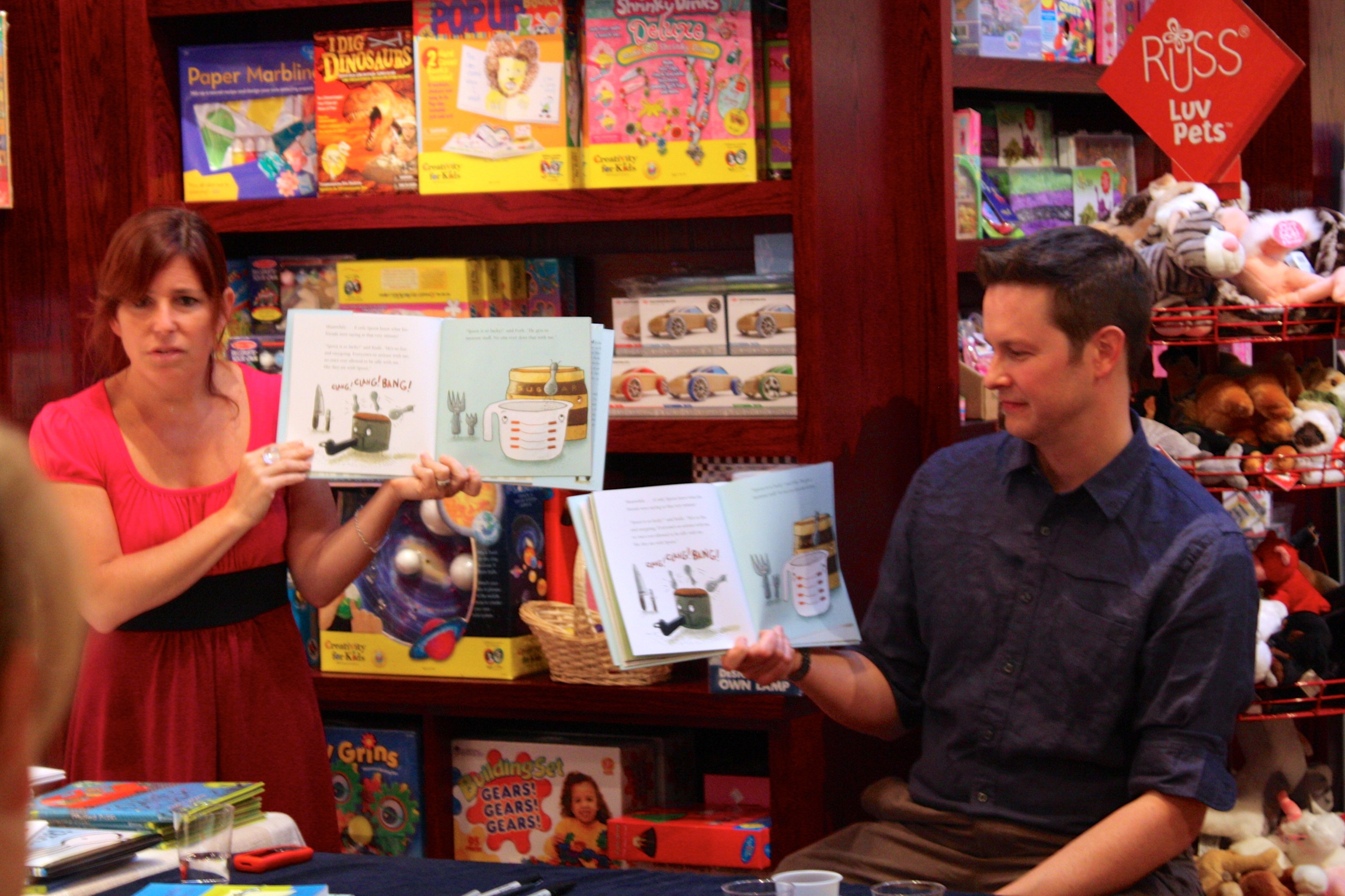 Amy and I reading  Spoon  at the Blue Bunny.