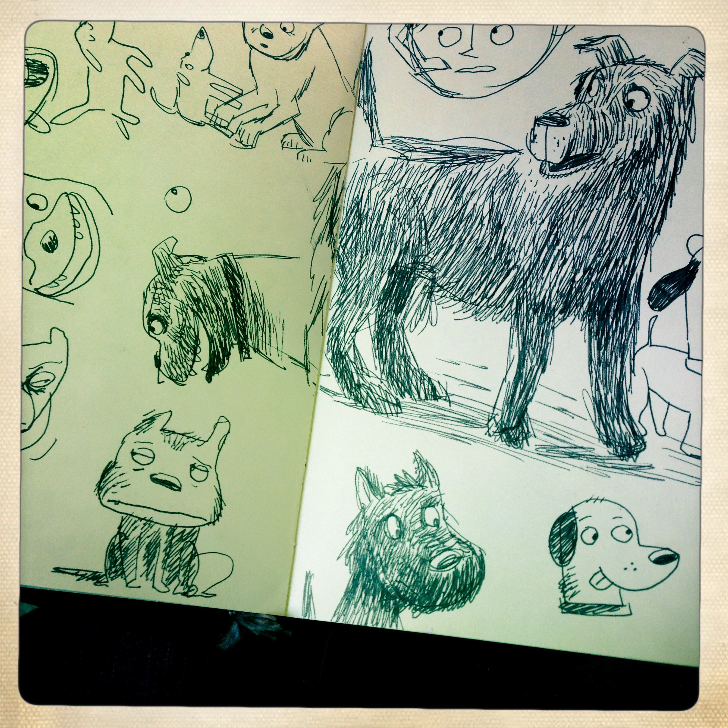 Coming up with just the right dog character design was v. important—even though he doesn't have any lines, he had to be the moral center of the story and therefore capable of lots of emotion and immediately likable.