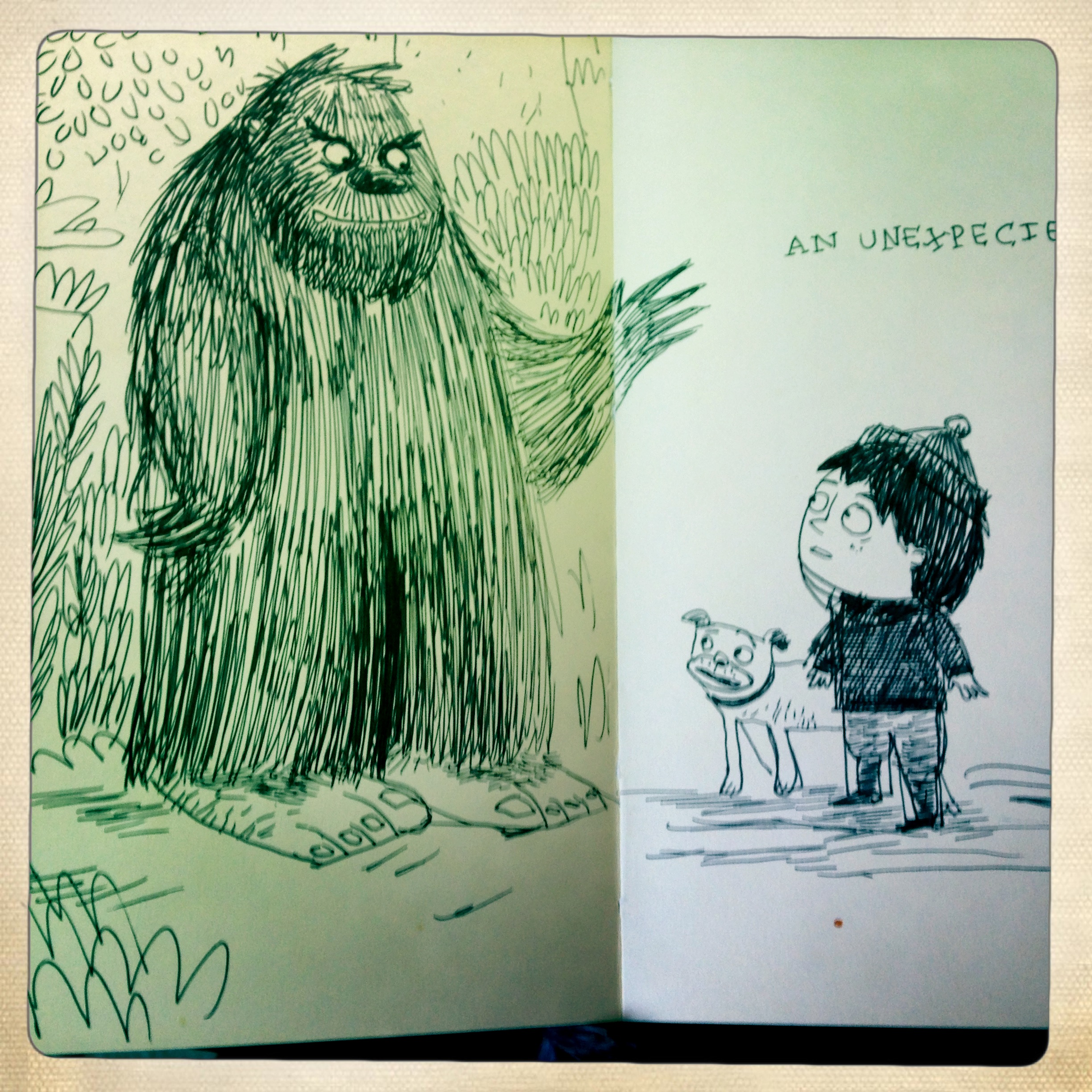 This story didn't start as a Boy Who Cried Wolf riff; early on it was just a boy encountering a Sasquatch, apparently!