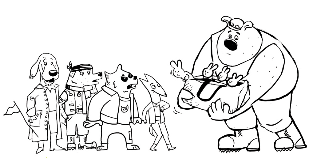 Bulldog Mike with some proto-dog designs. Candlewick wasn't a fan of Mike as bulldog, so I tried a new approach...see next.