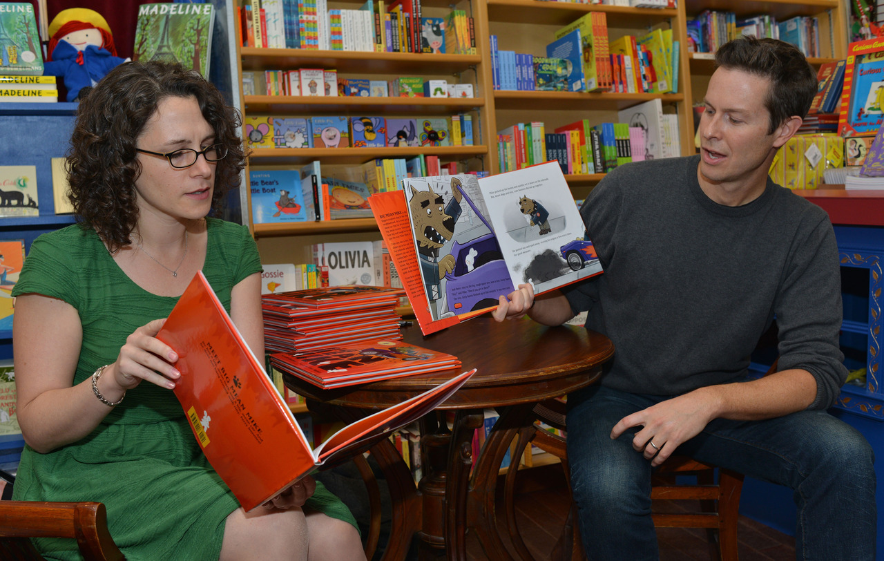 Michelle Knudsen & I read ( I did the Big Mean Mike voice!) at McNally Jackson books in October, 2012.  (photo courtesy McNally Jackson)