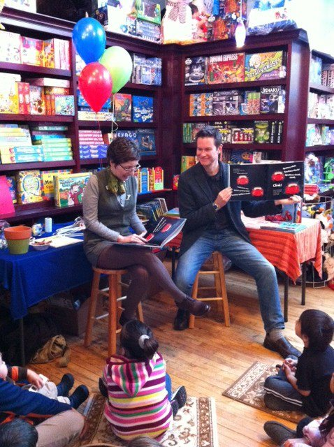 Kara LaReau and I read at The Blue Bunny Bookstore in Dedham, MA