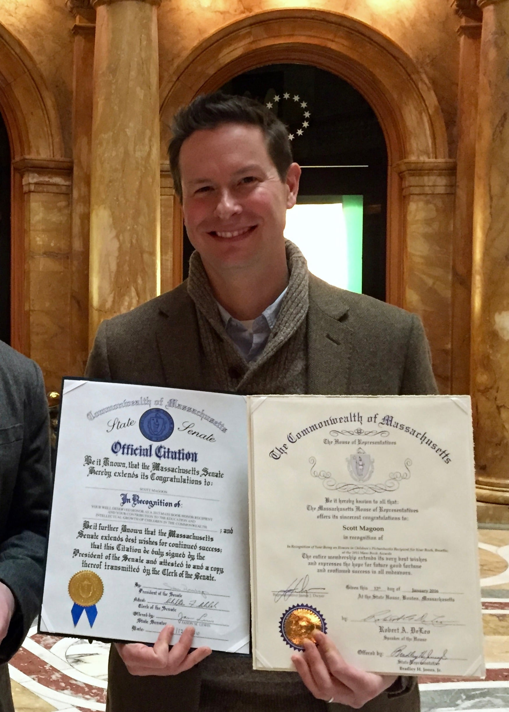 Here I am with my citations from the Massachusetts House of Representatives and the Massachusetts State Senate. Wow!!