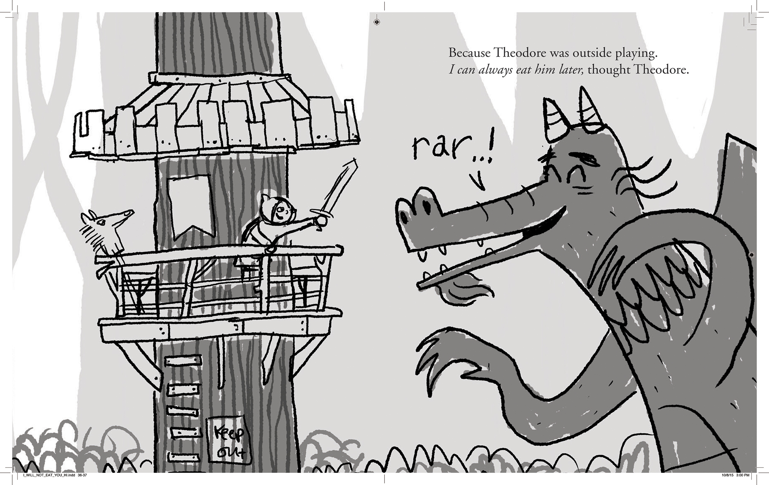 Here's a sketch for the last page. We didn't use this b/c it was felt that we were introducing a new locale/layer here with the boy's treehouse that wasn't necessary.