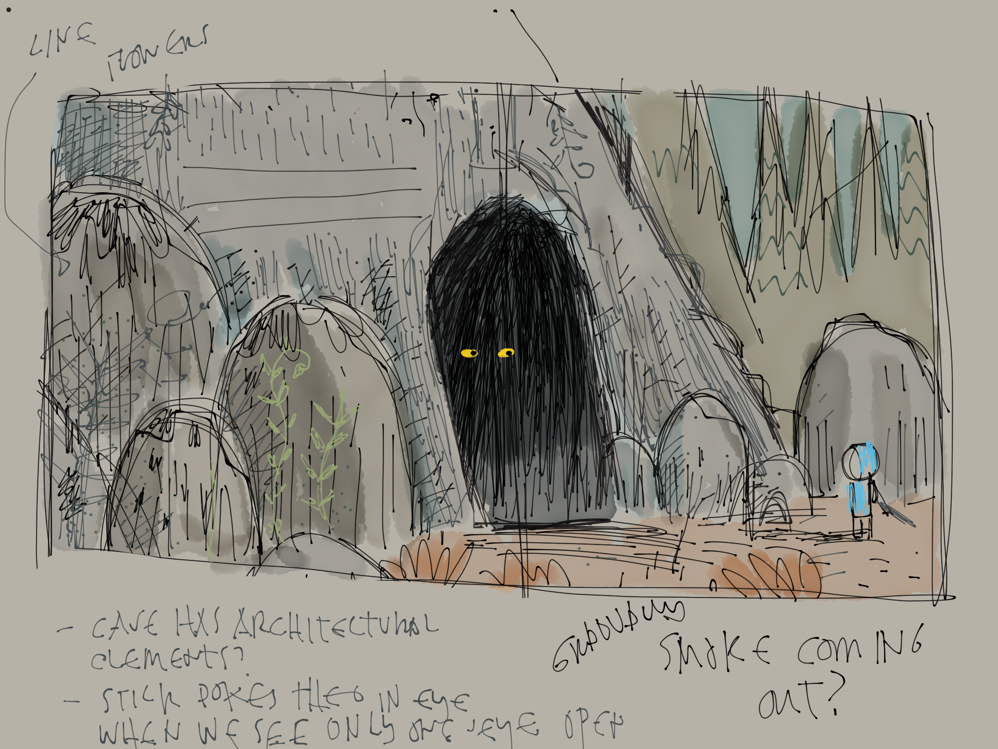 I liked this approach to the cave but it left little room for text and I preferred the more graphic approach I went with.