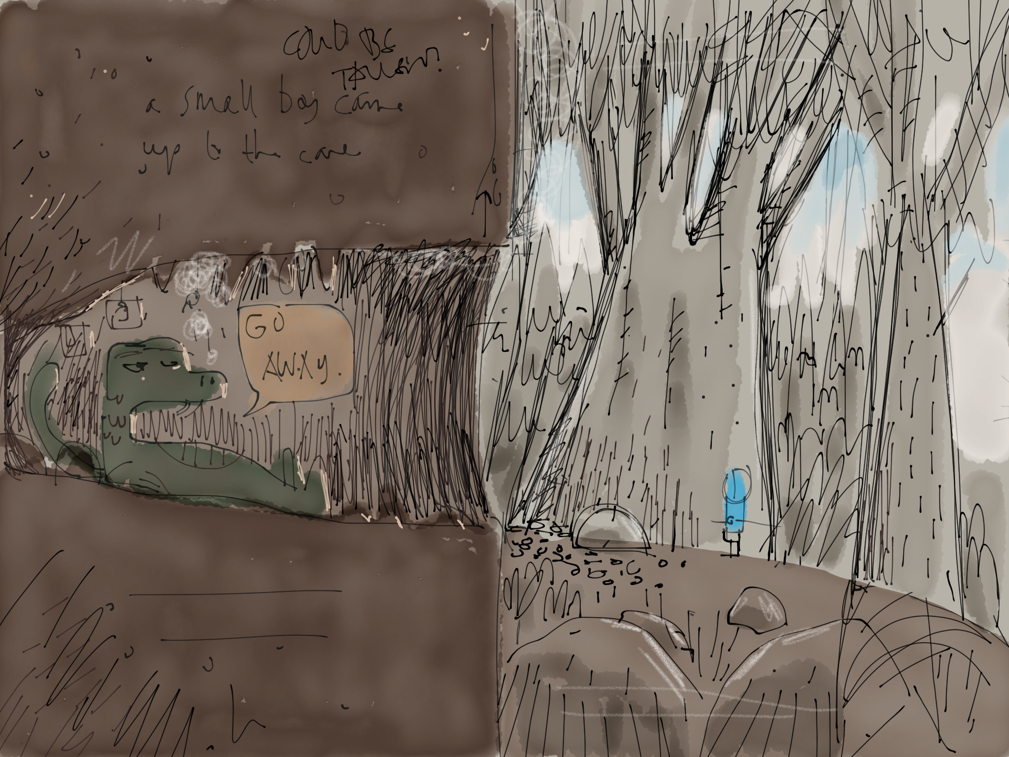Some early designs of the cave had a cross-section approach. Decided against it because there's little mystery here.