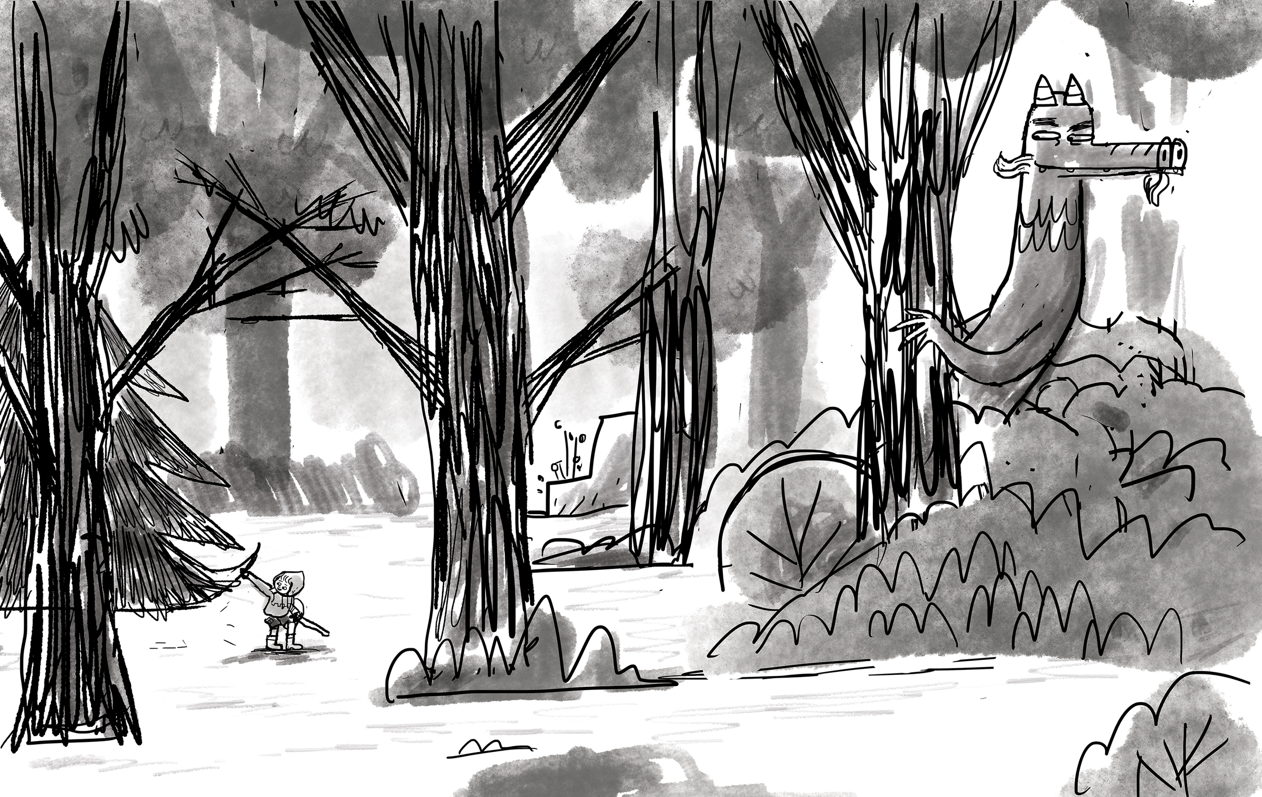 Here's the final sketch that was approved for final page (see final color drawings above).