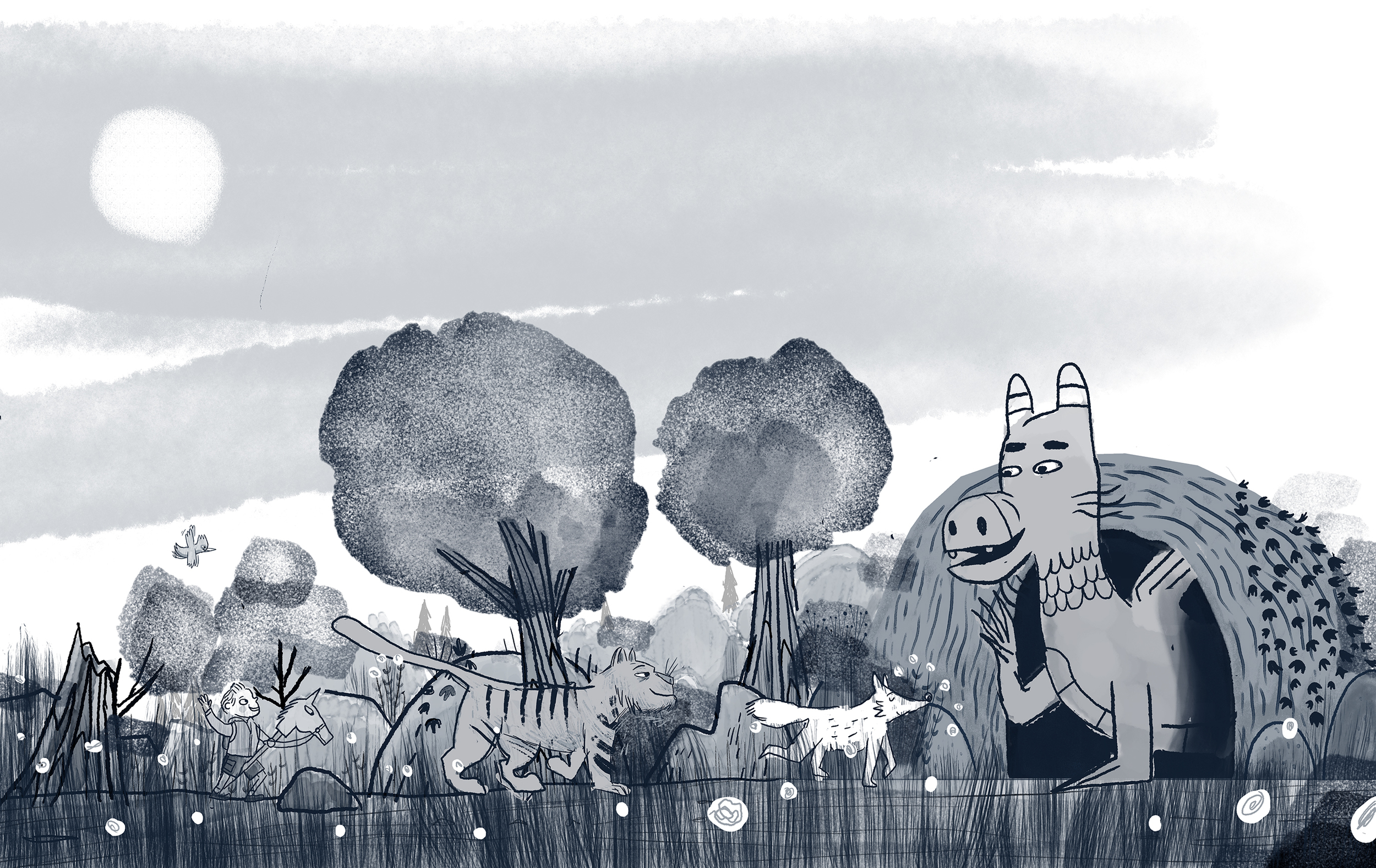 An alternate idea for endpapers that ultimately we rejected.