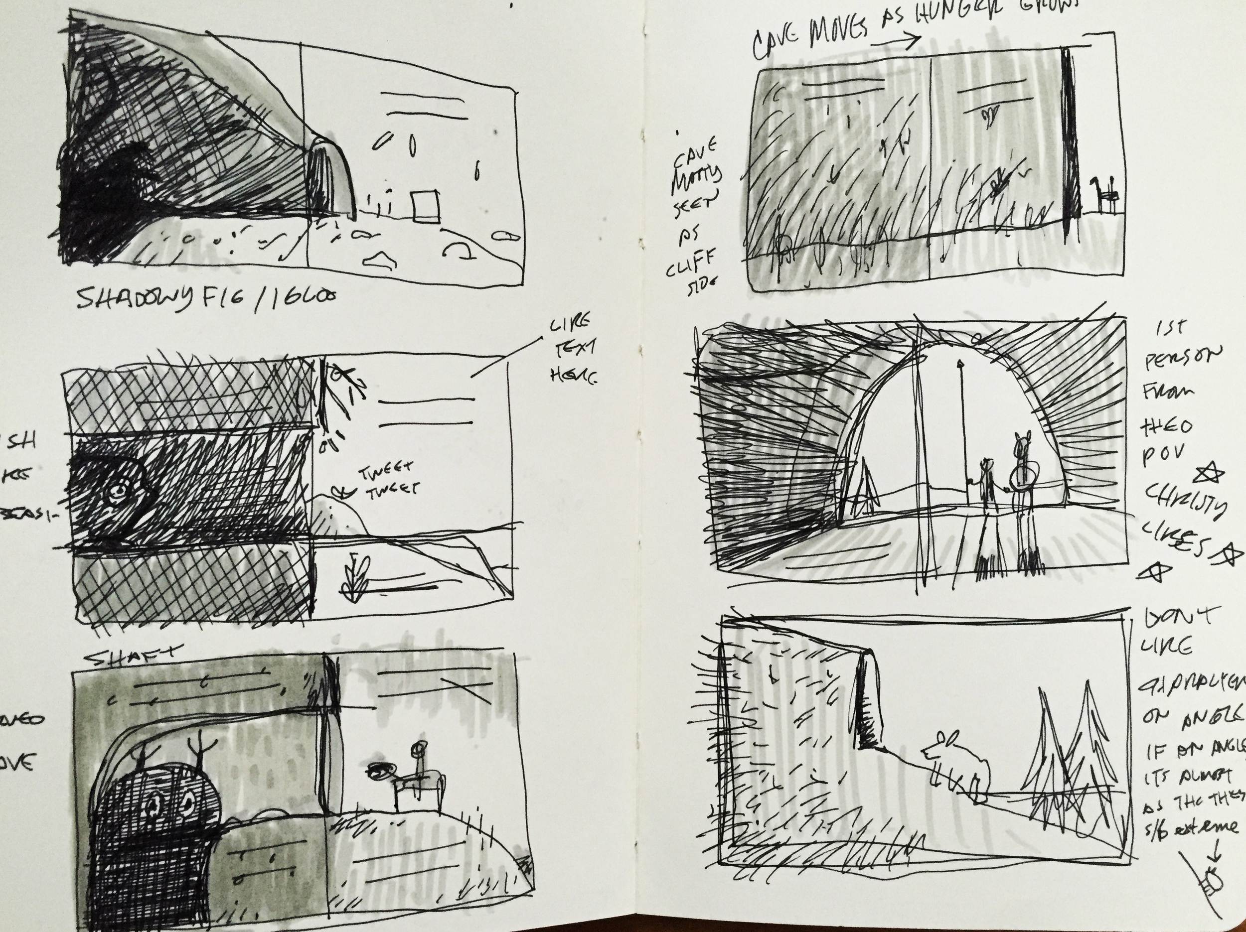 Thumbs of cave scene planning. Some of these show creatures before it was decided Theo was to be a dragon.