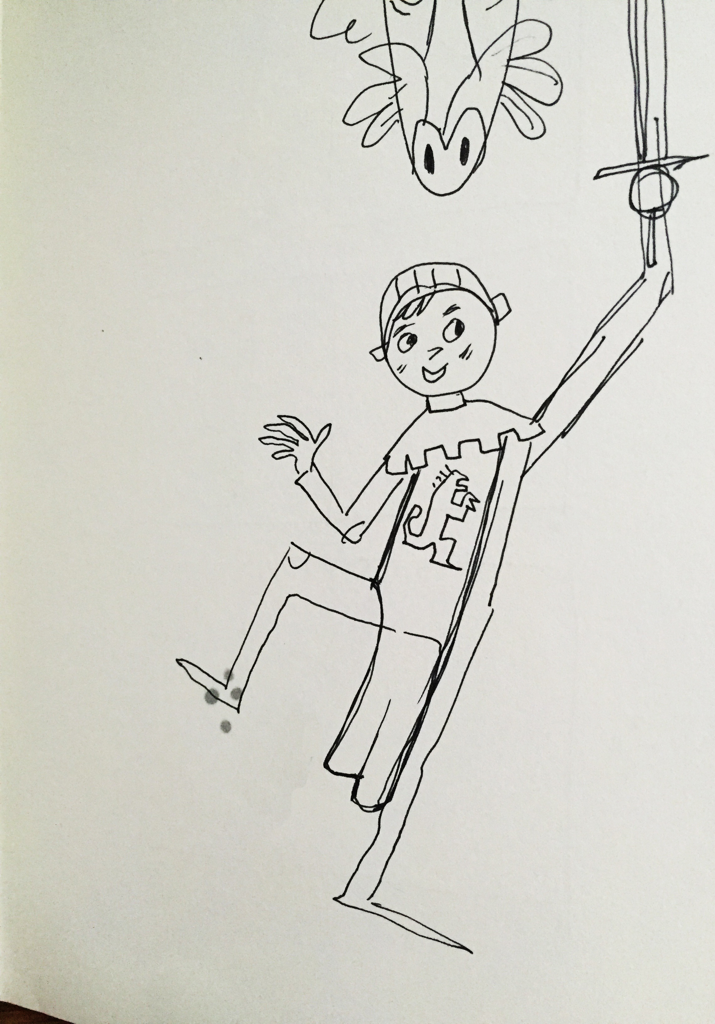 Early, early sketch of boy. Pretty lanky!