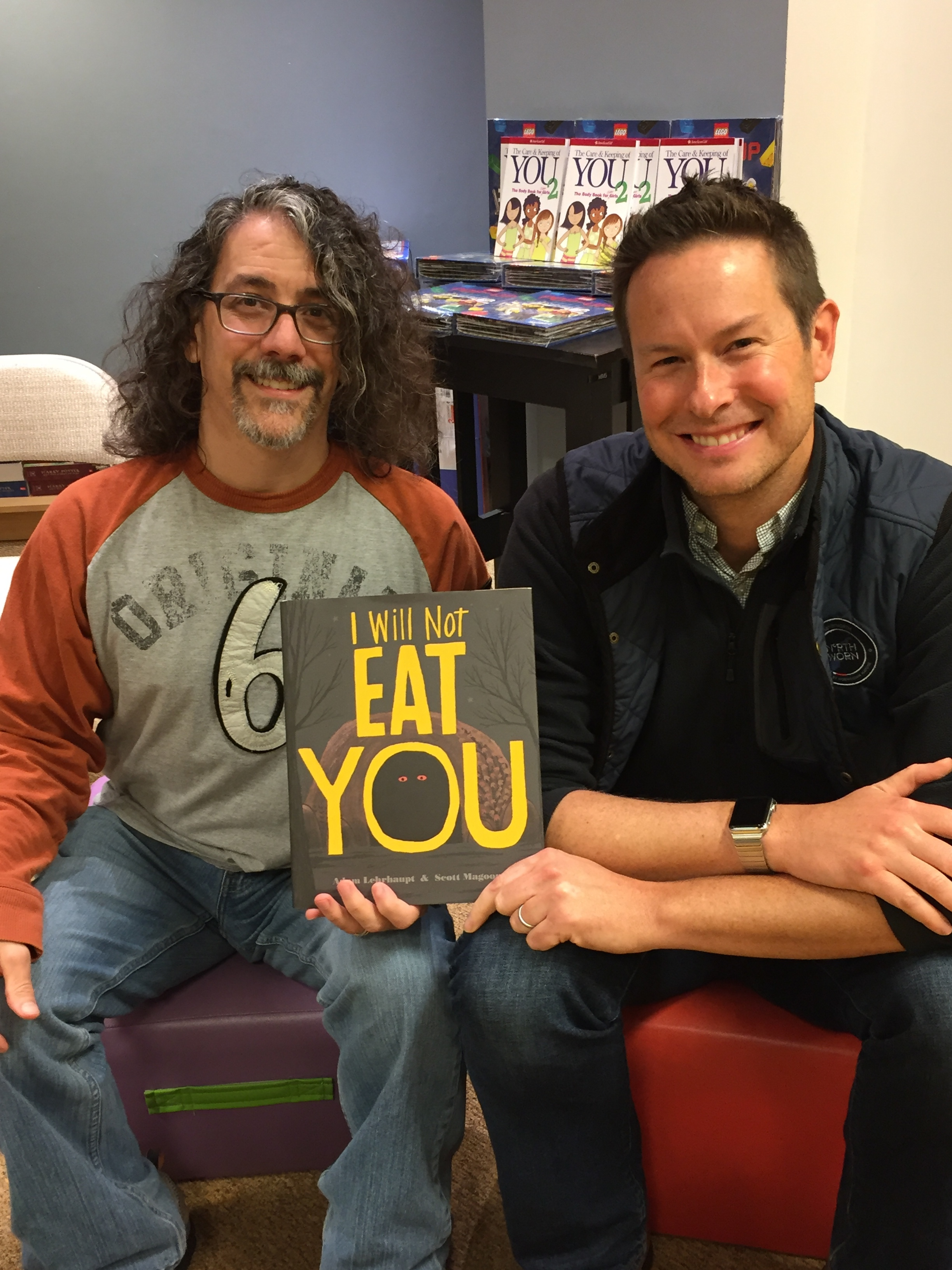 Author  Adam Lehrhaupt  and me at a bookstore appearance.