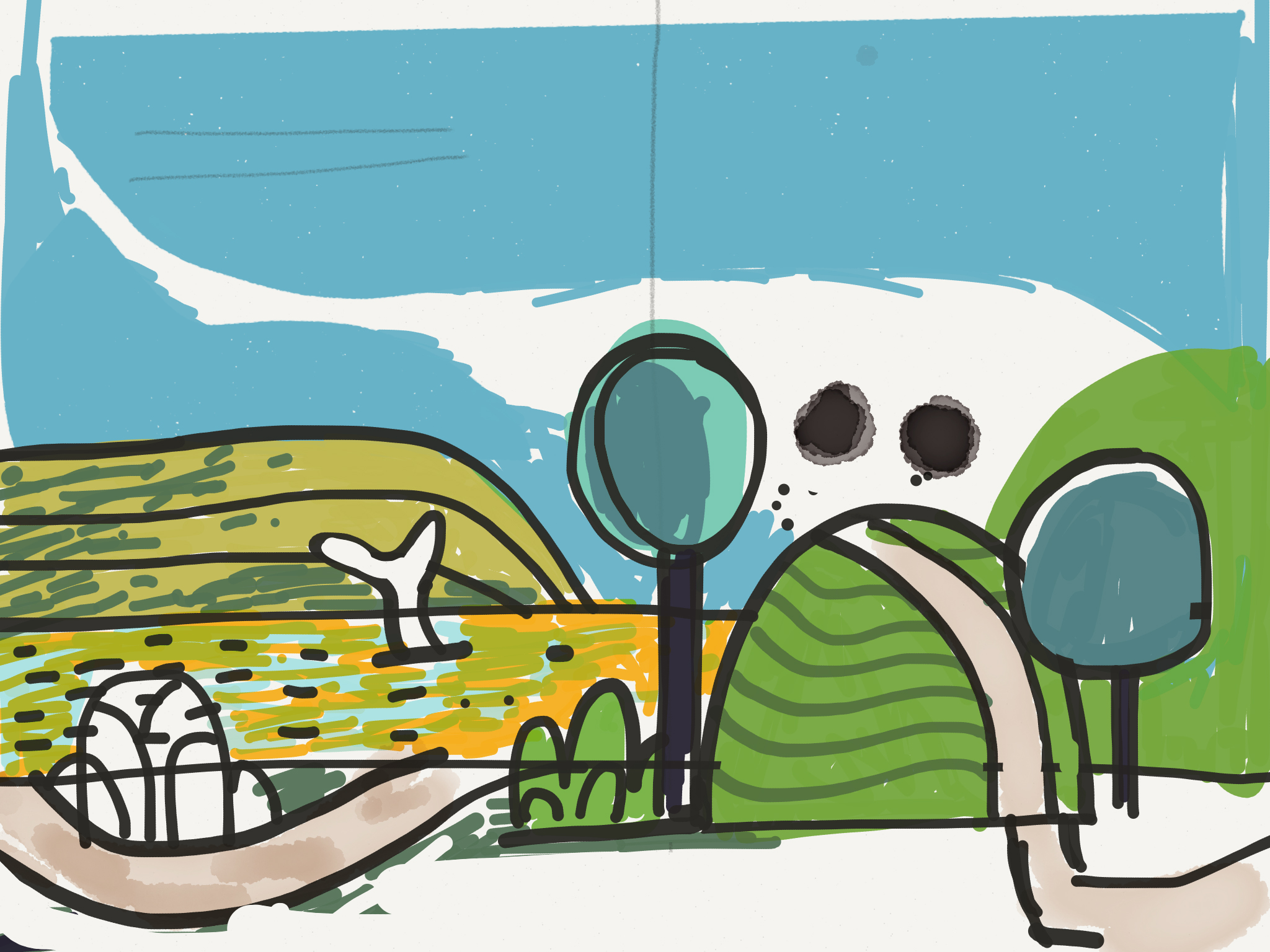 Background sketch. Inspired by Super Mario Brothers 2! :)