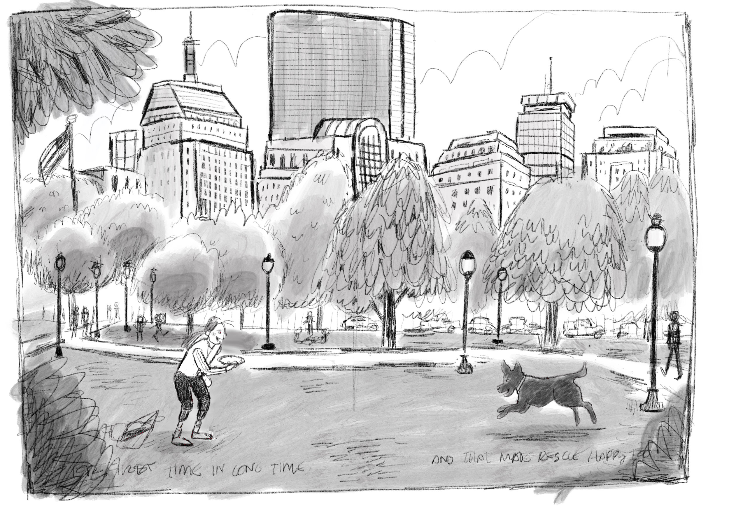 A very early concept drawing meant to show how I'd show our characters in Boston. It was important to include Boston because of the events surrounding the marathon bombing and because the authors and I call the greater Boston area home.