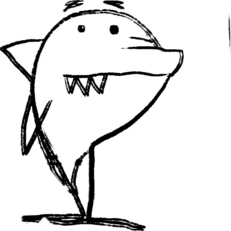 The first drawing I did of Misunderstood Shark.
