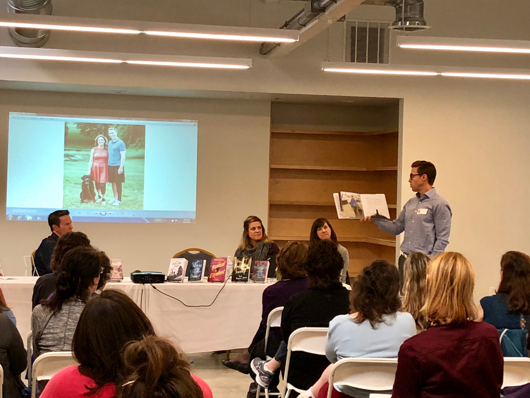 Patrick presenting at the Candlewick Press Boston Librarian Preview.