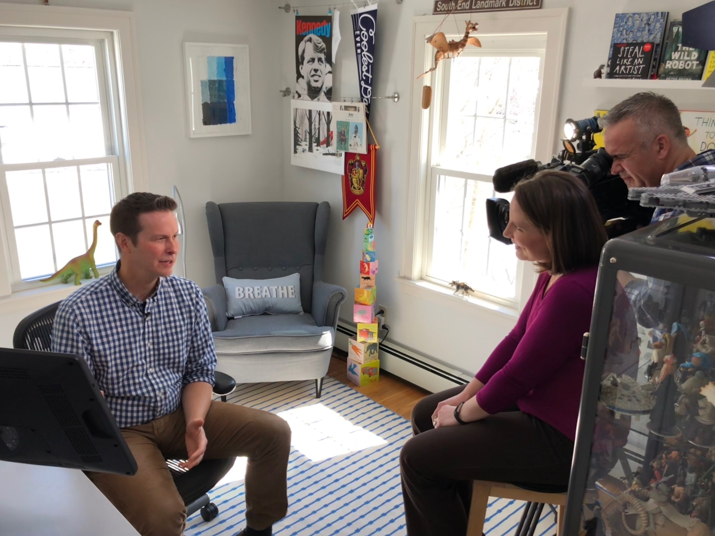 Here I am in my studio talking with our local NBC news reporter Alysha Palumbo about drawing RESCUE & JESSICA.