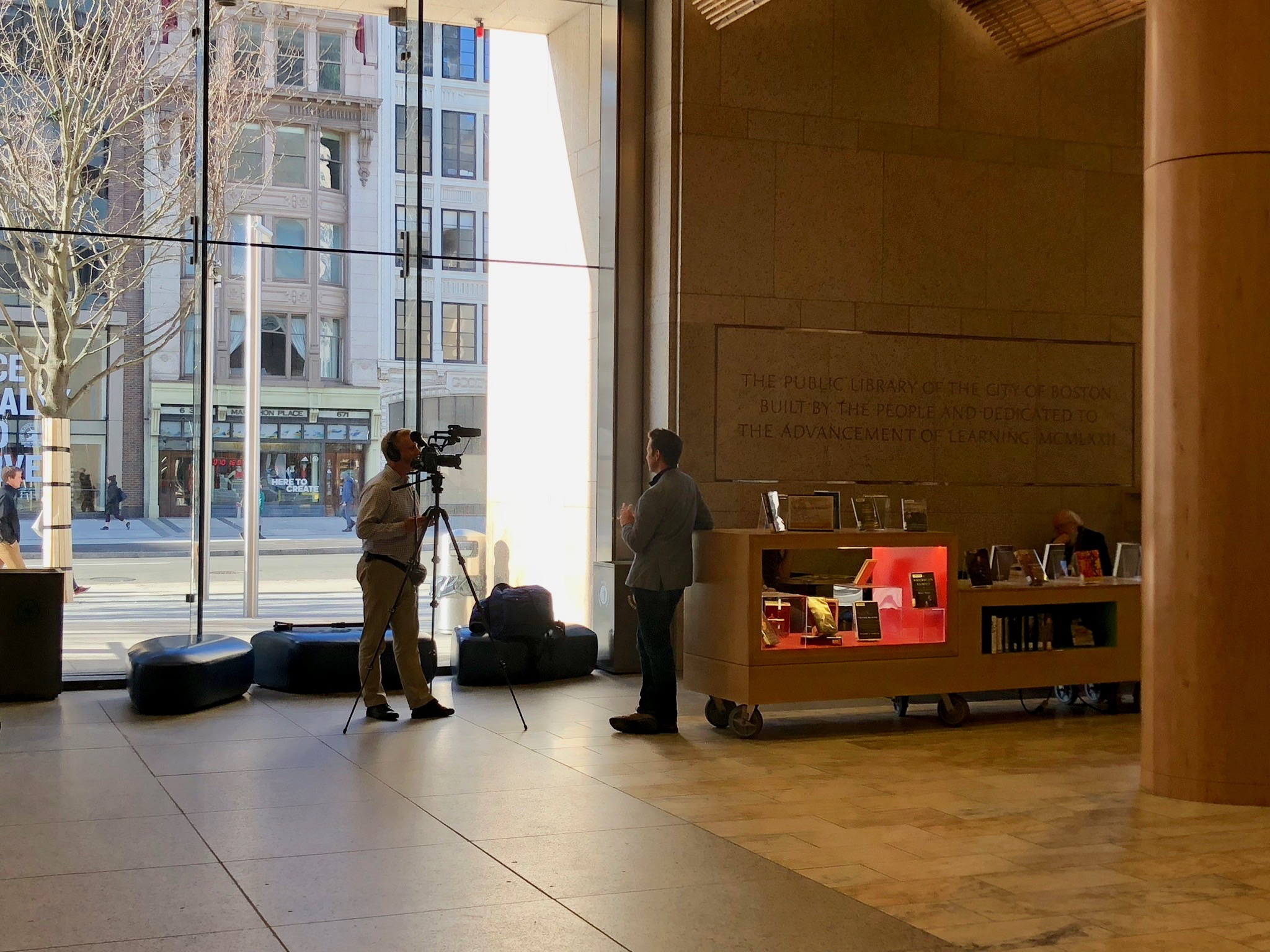 Speaking with a Today show producer in the beautiful BPL lobby on Boylston Street.
