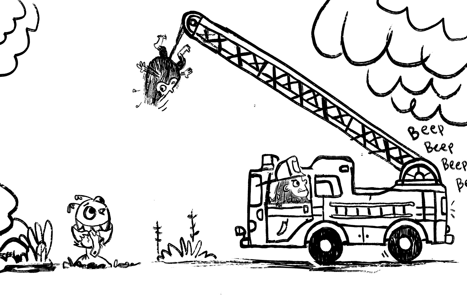 I like how I've got multiple points of narrative in one drawing across a spread. Monkey responds to Owl on the left as he hangs from the ladder and then on the right he's pulling the firetruck away as a second post of action.