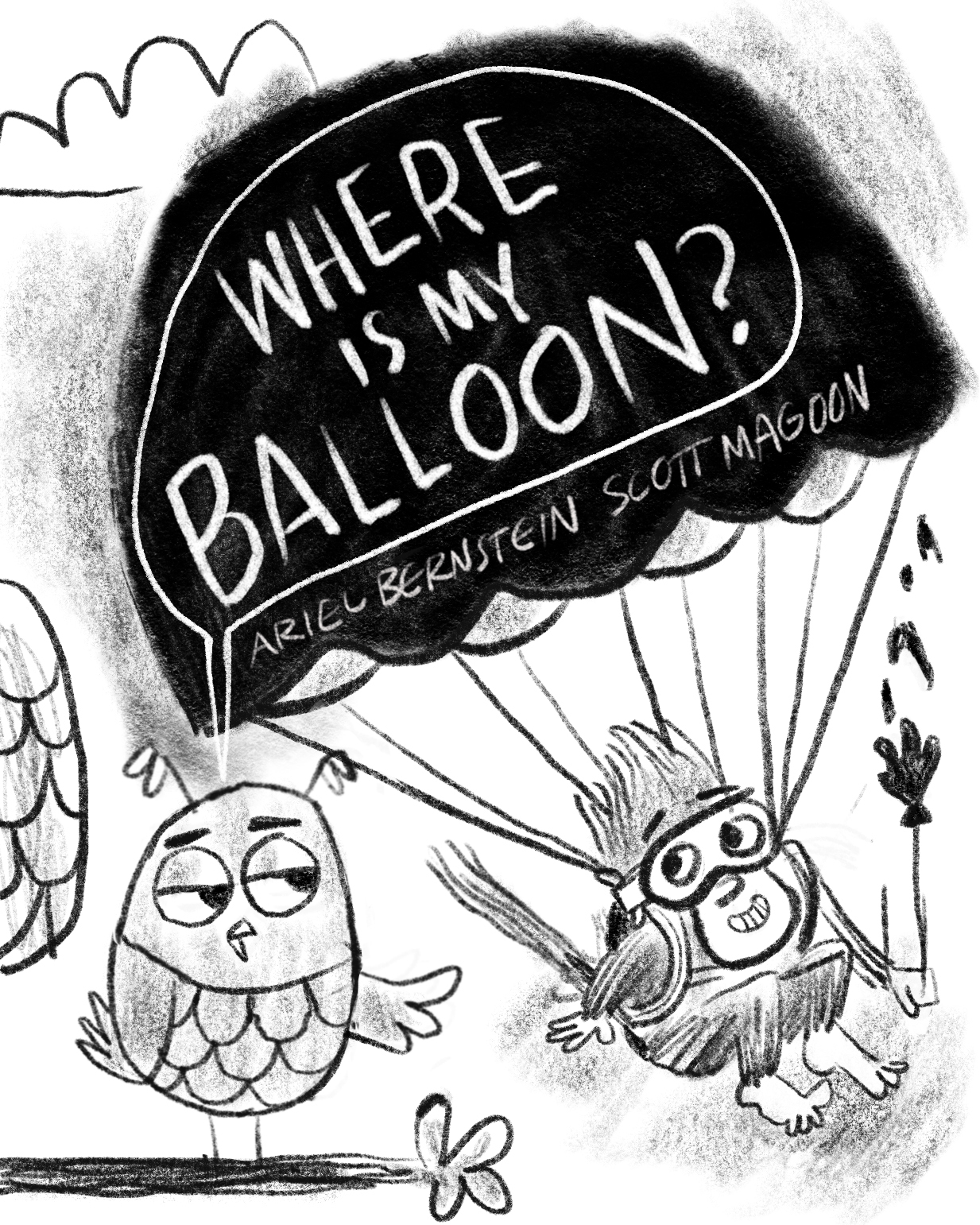 Cover sketch! Originally we were trying to replicate I HAVE A BALLOON's iconic red shape on the cover, hence the parachute.