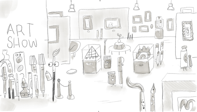 Art show scene sketch!